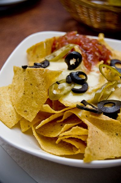 Left: Nachos with cheese.